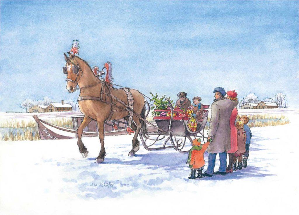 Illustratie Kerstverhaal Kerstfeest op de trekschuit