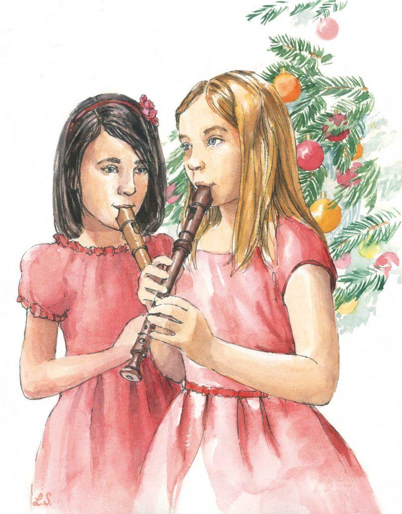 Illustratie Kerstverhalen De kerstblokfluit