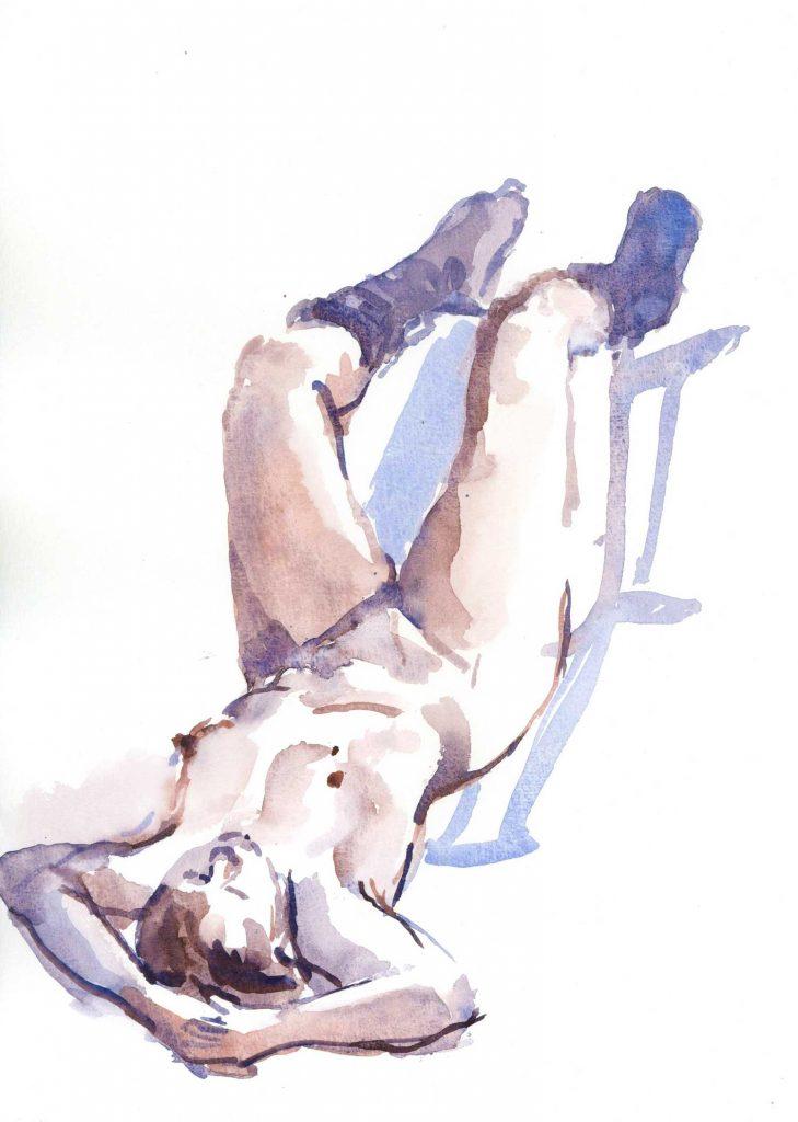 Model Annabel liggend aquarel 30cm x 40cm