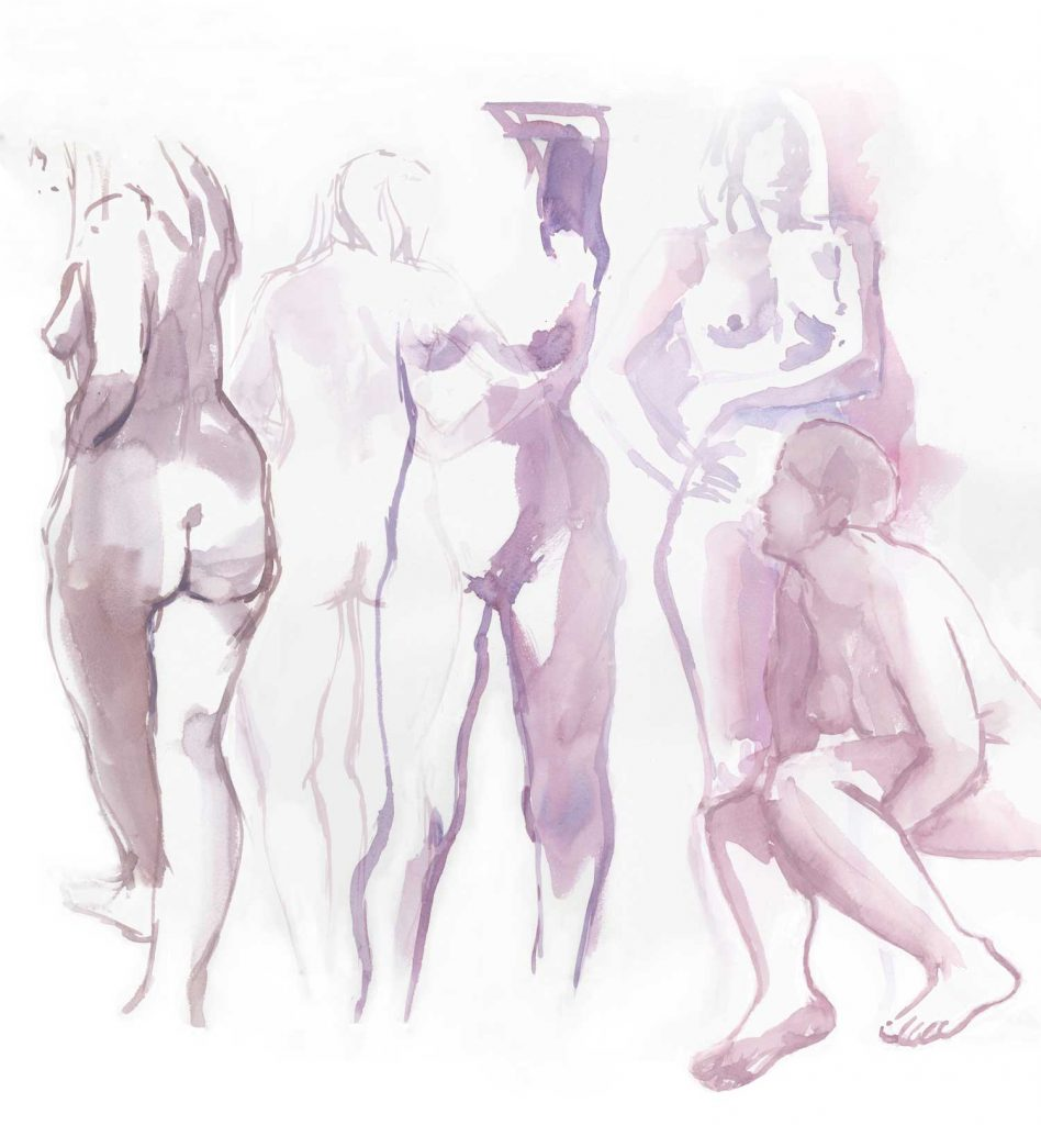 Model digitale collage van diverse aquarellen