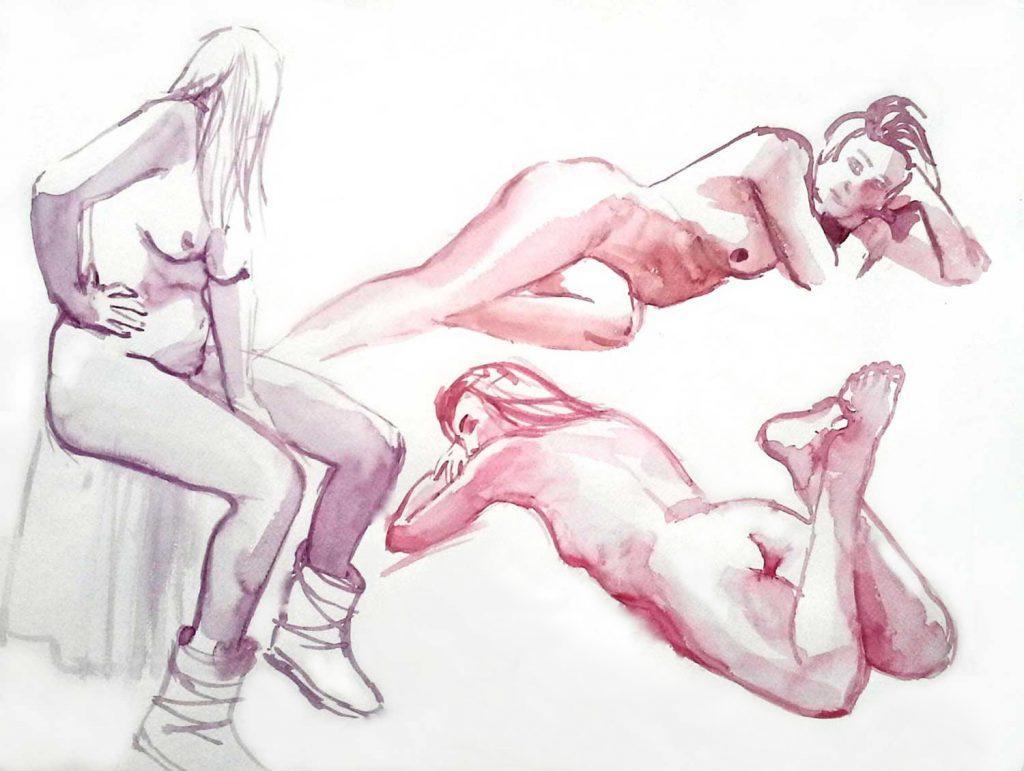 Model vrouwen aquarel 50cm x 65cm