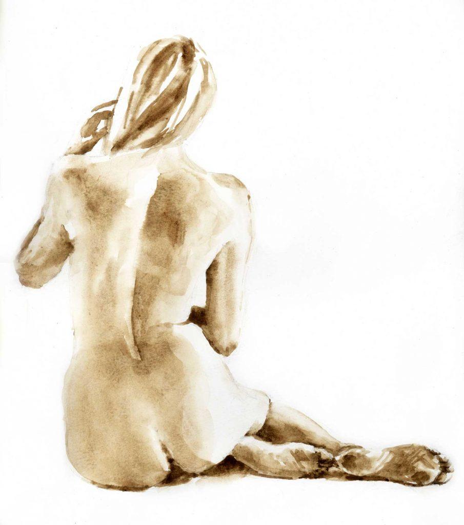 Model zittende vrouw aquarel 30cm x 40cm
