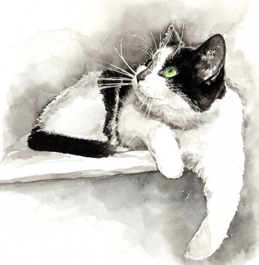 Portret Beppie aquarel