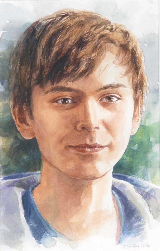 Portret Ernst aquarel