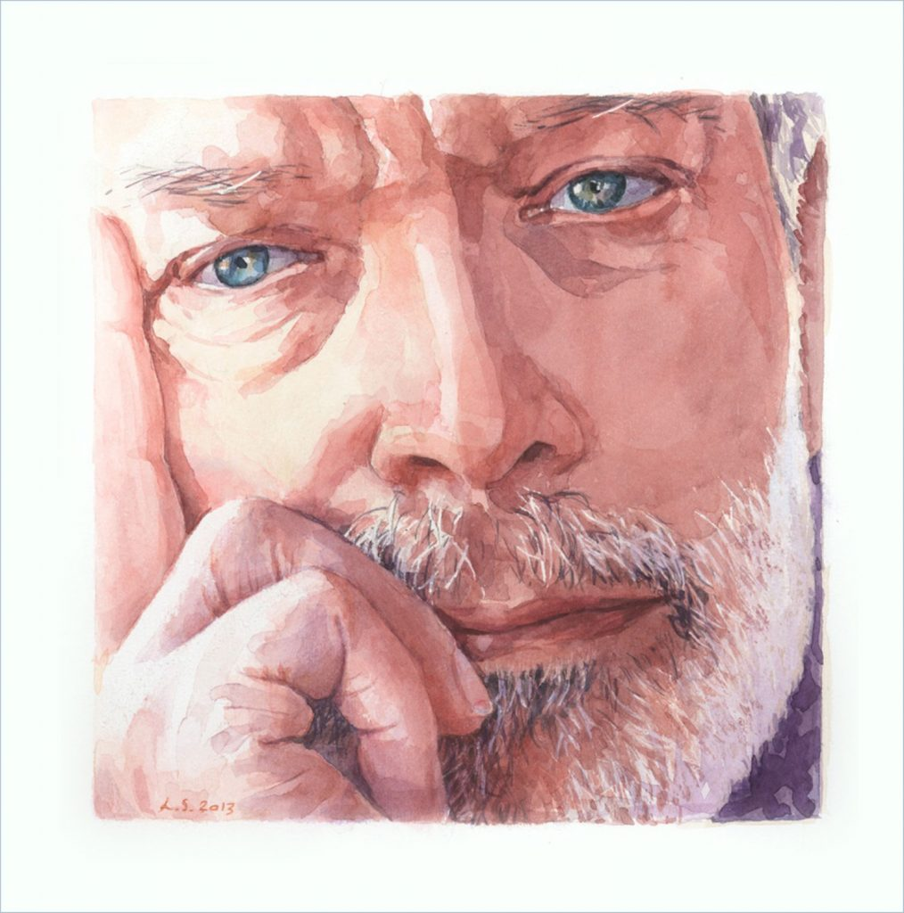 Portret Henk Horsten aquarel