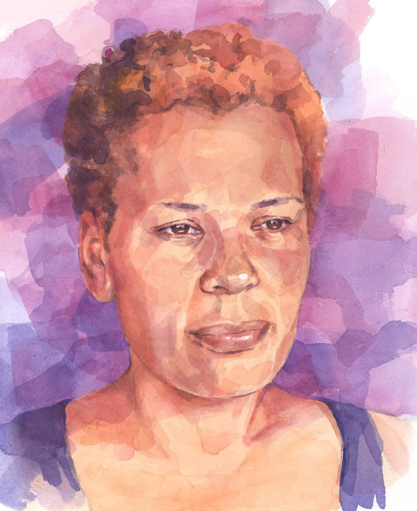 Portret Marjolijne aquarel