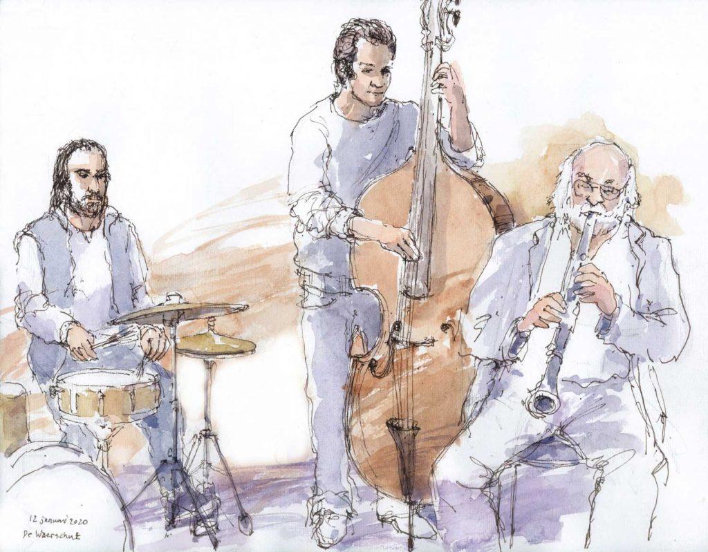 Urbansketch Eddy Nielsen Jazz aquarel 31cm x 24cm