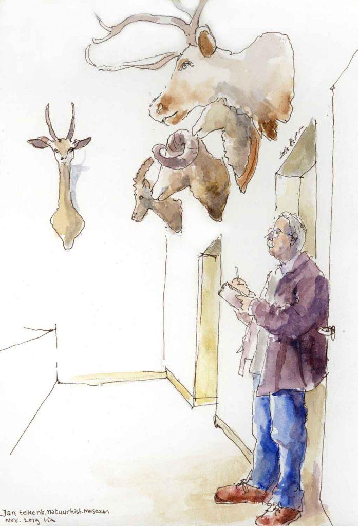 Urbansketch Jan tekent aquarel 24cm x 30cm