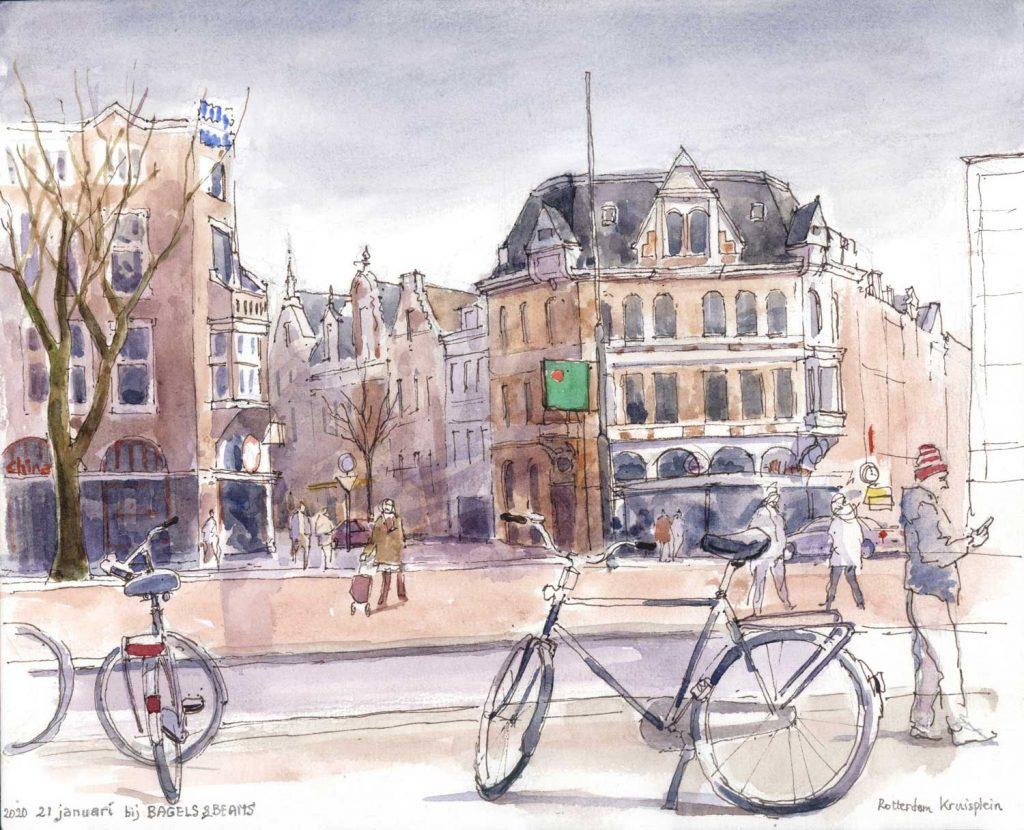 Urbansketch Rotterdam Kruisplein aquarel 24cm x 30cm