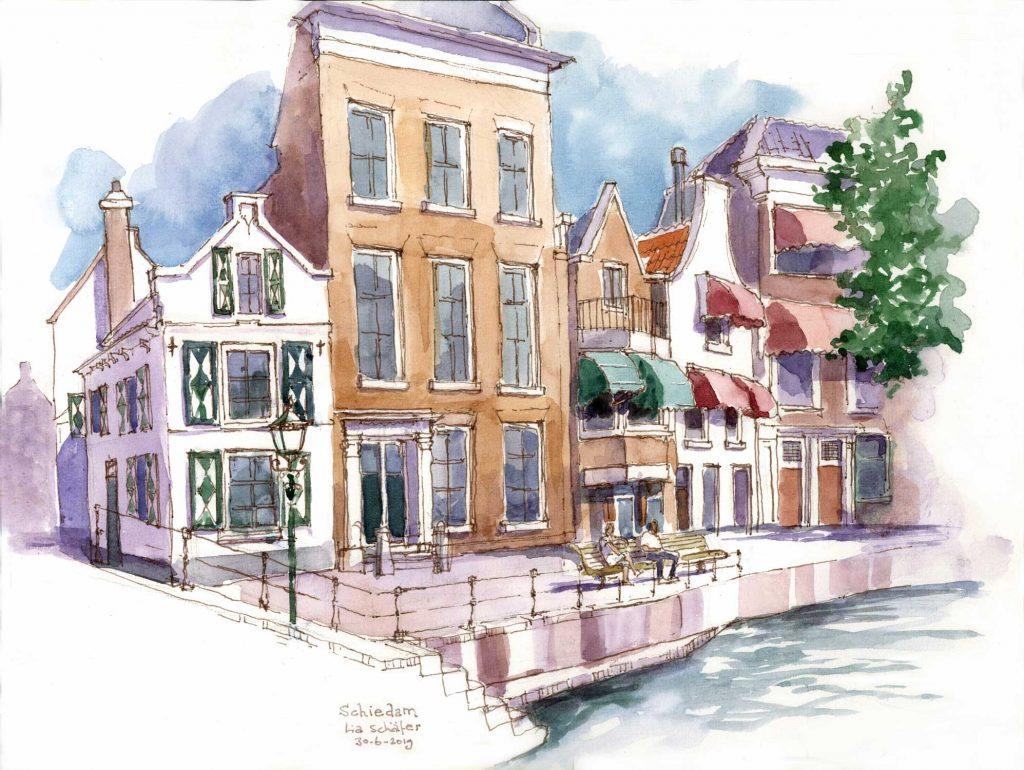 Urbansketch Schiedam Lange Haven 30cm x 40cm