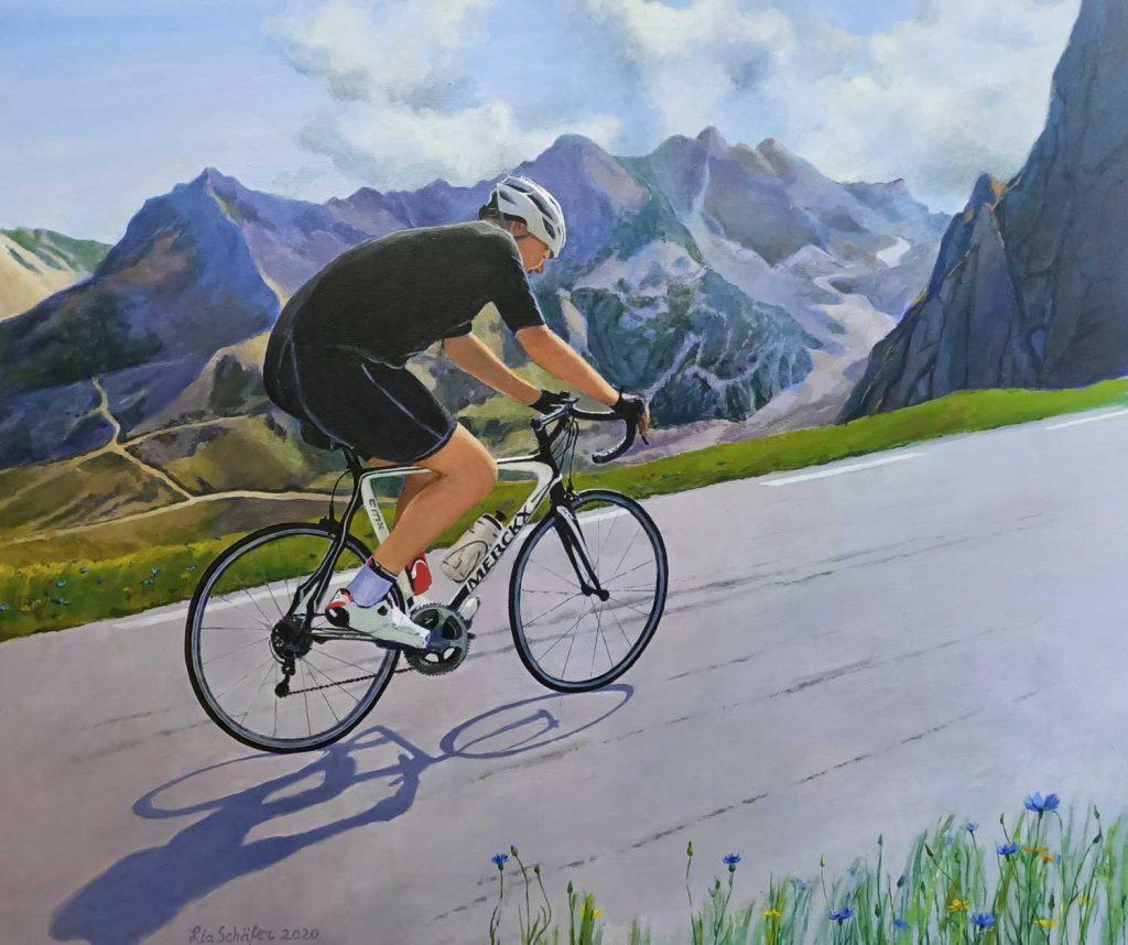 Portret Ronald Col du Tourmalet Acryl op doek 120cm x 100cm