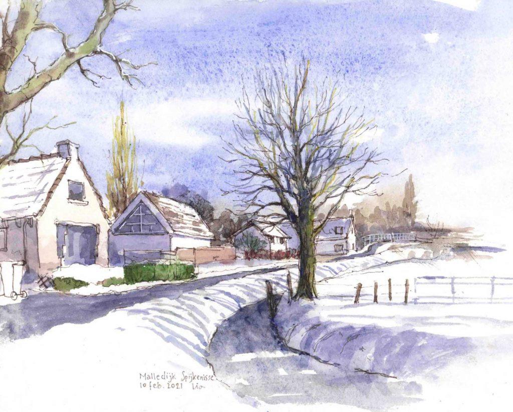 Urban Sketch In de winter op de Malledijk Spijkenisse aquarel 32cm x 24cm
