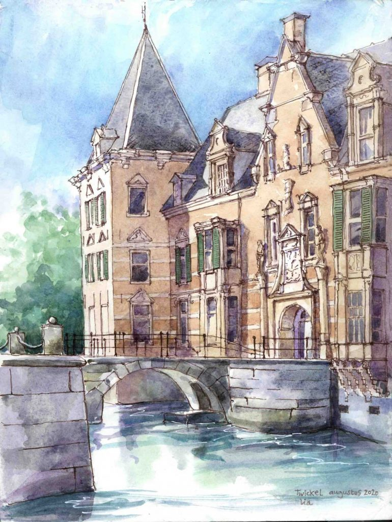 Urban Sketch Kasteel Twickel in Delden aquarel 30cm x 24cm
