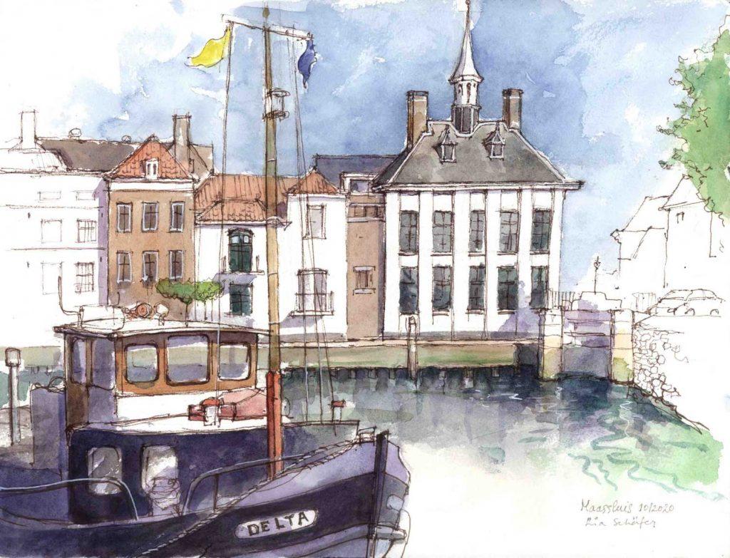 Urban Sketch Maassluis 1 aquarel 32cm x 24cm