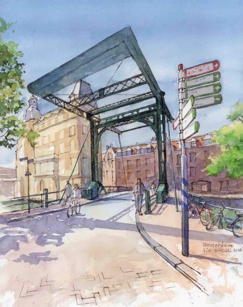 Virtual Sketch Aluminiumbrug Amsterdam aquarel 32cm x 24cm