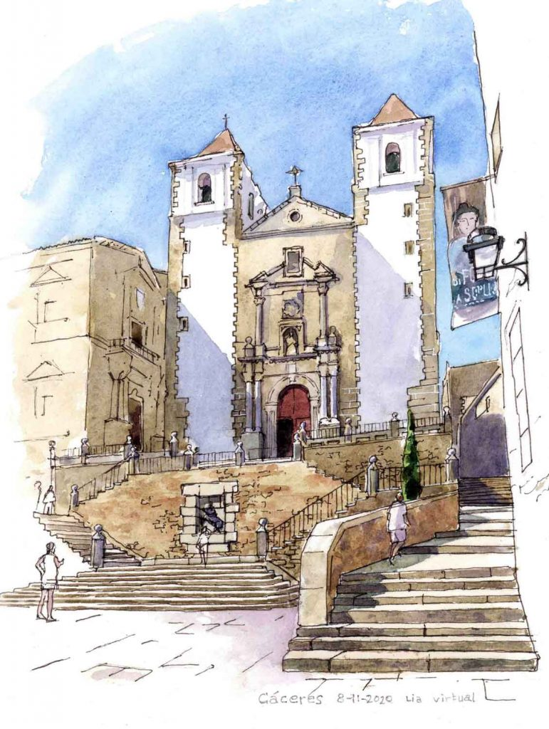 Virtual Sketch Cáceres aquarel 34cm x 26cm