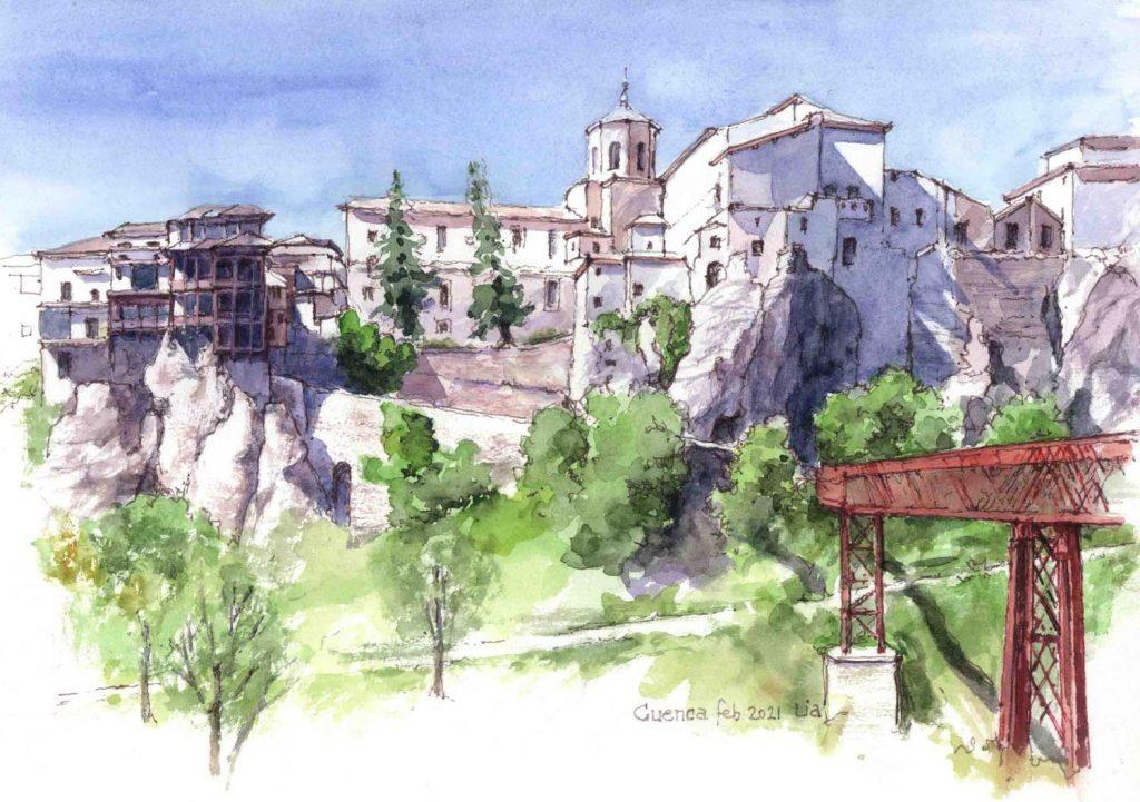 Virtual Sketch Cuenca Spain aquarel 32cm x 24 cm