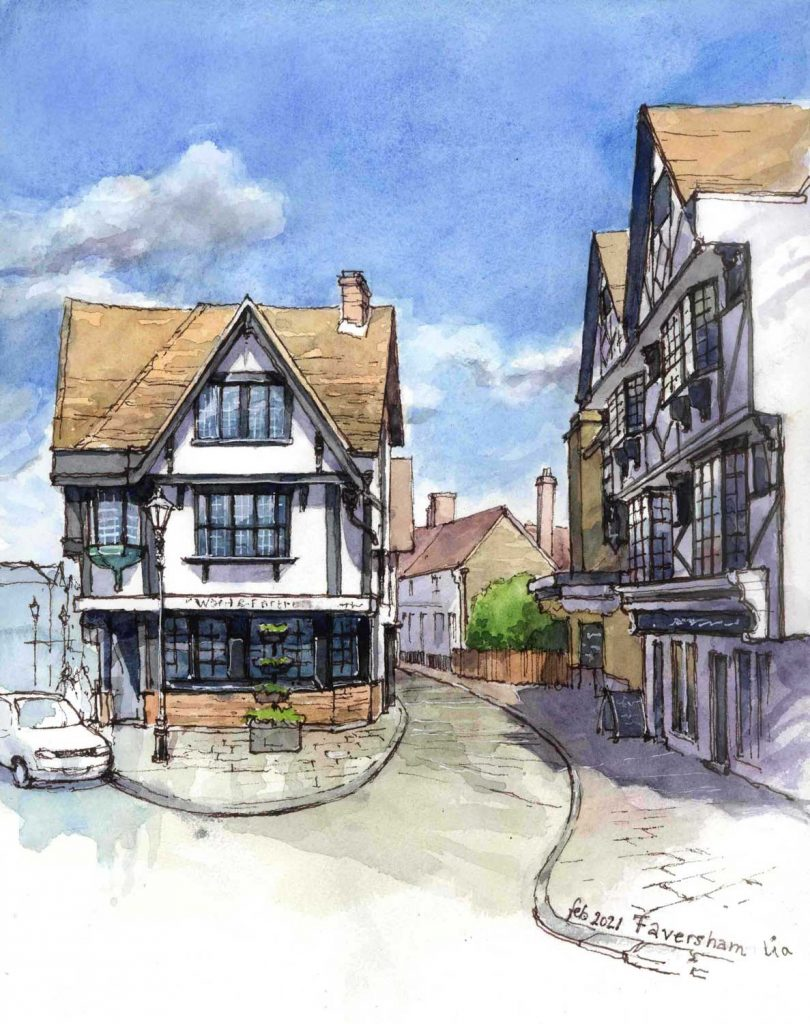 Virtual Sketch Faversham UK aquarel 32cm x 24cm