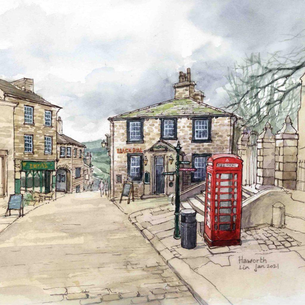 Virtual Sketch Haworth UK aquarel web 30cm x 30cm