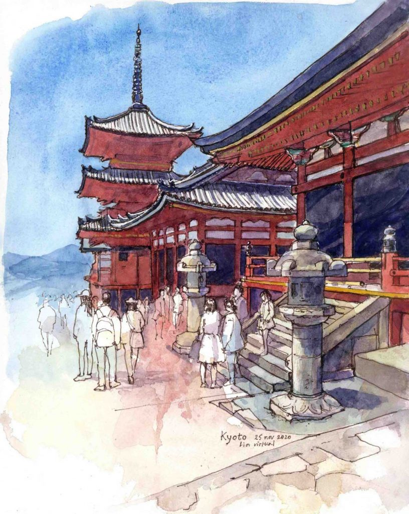 Virtual Sketch Kyoto aquarel 32cm x 24cm
