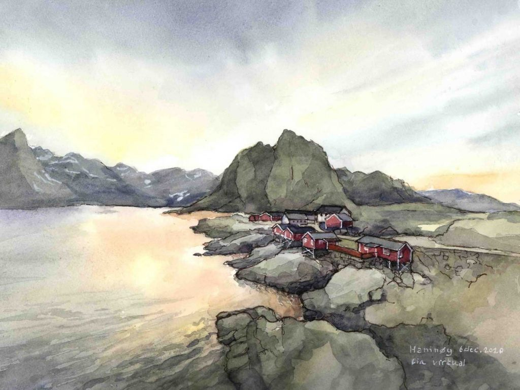 Virtual Sketch Lofoten Islands Noorwegen aquarel 31cm x 24cm