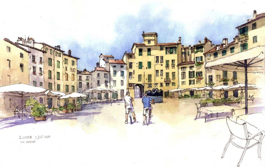 Virtual Sketch Lucca aquarel 40cm x 30cm