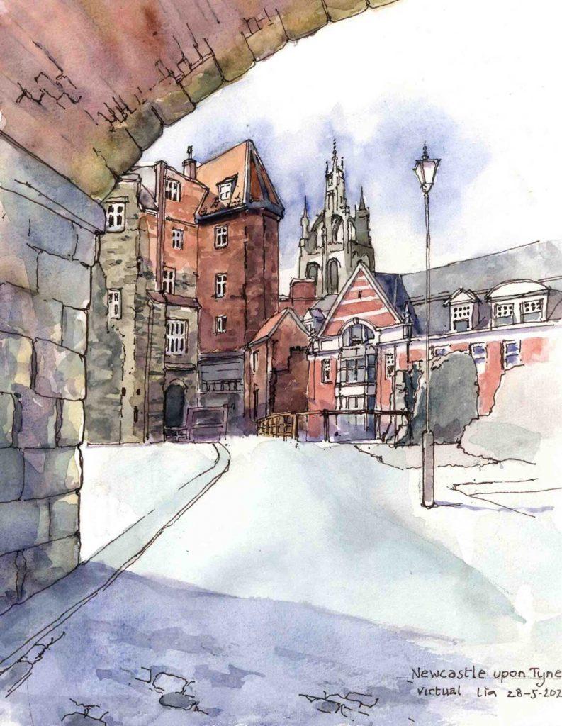 Virtual Sketch Newcastle upon Tyne UK aquarel 28cm x 24cm