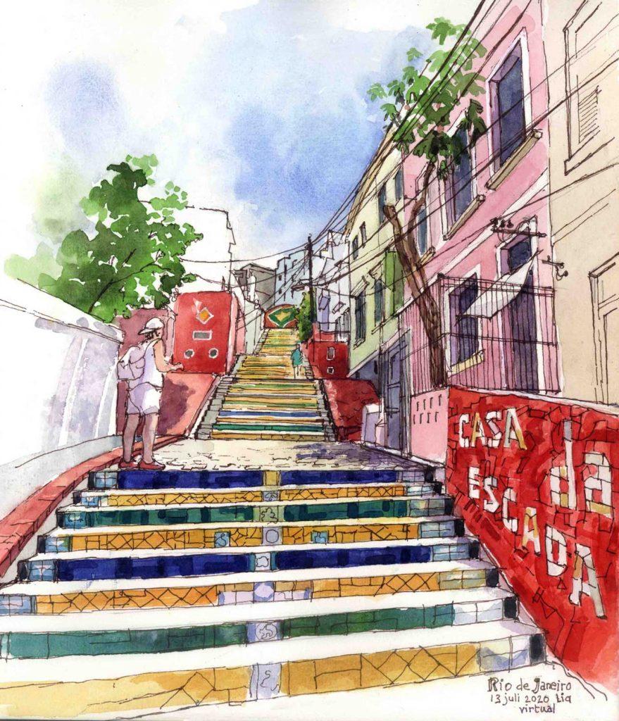 Virtual Sketch Rio de Janeiro aquarel 30cm x 25cm